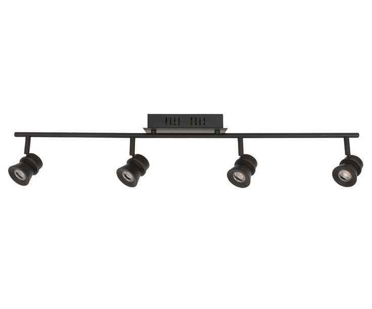 If dark colour track lighting is selected, suggest small / simple design.  These are from Beacon Lighting.  LEDlux Barossa 4 Light Dimmable Spot in Oil Rubbed Bronze