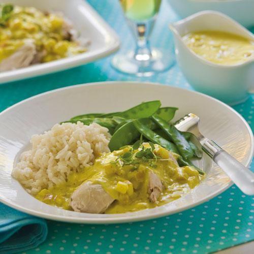 Kokt kyckling med currysås