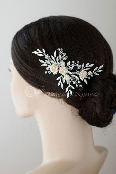 Porcelain Roses Bridal Clip With Matte Leaves Wedding Hair