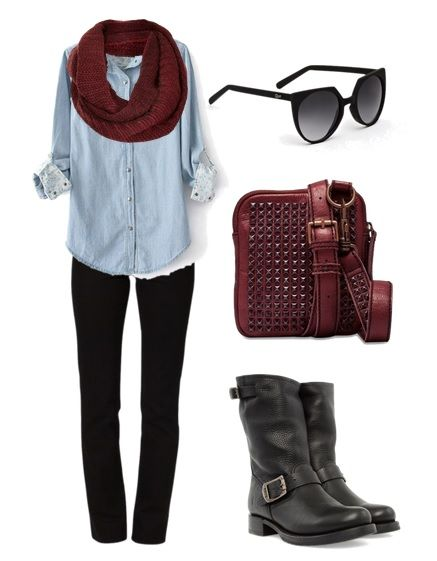 Liebeskind Tibby in Rouge Noir with Frye Veronica Shortie Black and Quay Eyewear