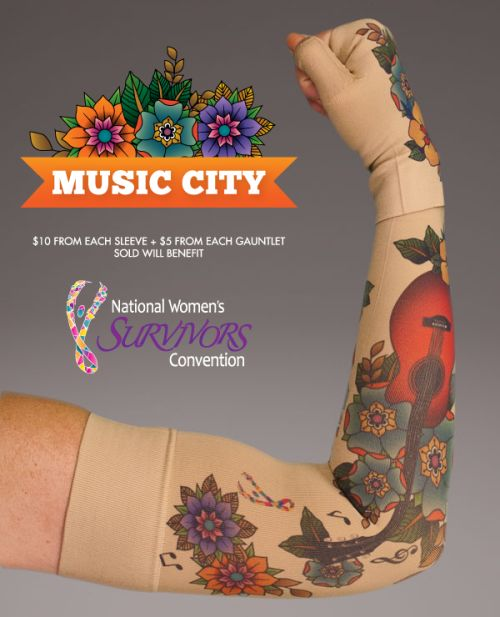 We are so excited to announce our latest collaboration with the Women Survivors Alliance (WSA) on the Music City sleeve & gauntlet design to benefit the National Women's Survivors Convention (NWSC). The convention will take place at the Gaylord Opryland Resort in Nashville, TN on July 31st to August 2nd. The convention will feature many Main Stage Presentations, Empowerment Sessions, Welcome to Nashville Pajama Party, This is the NEW ME makeovers and photo shoot, the Look Good Feel Better...