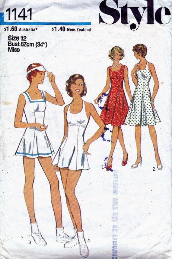 70s Vintage pattern Dress Tennis Dress & Panties Style 1141 Size 12 Bust 34