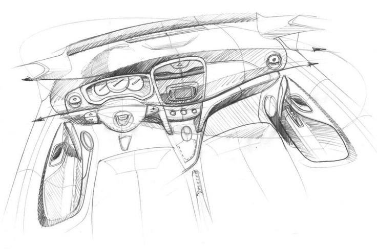 Schiță design interior al noilor modele Dacia Logan, Dacia Sandero și Dacia Sandero Stepway