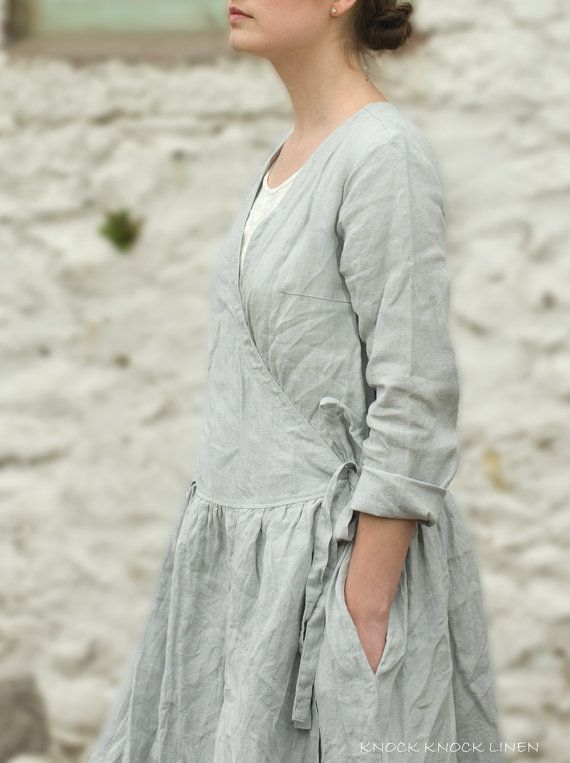 LIGTH+GREY+LINEN+Wrap+Dress+/+Jacket+by+KnockKnockLinen+on+Etsy,+£125.00