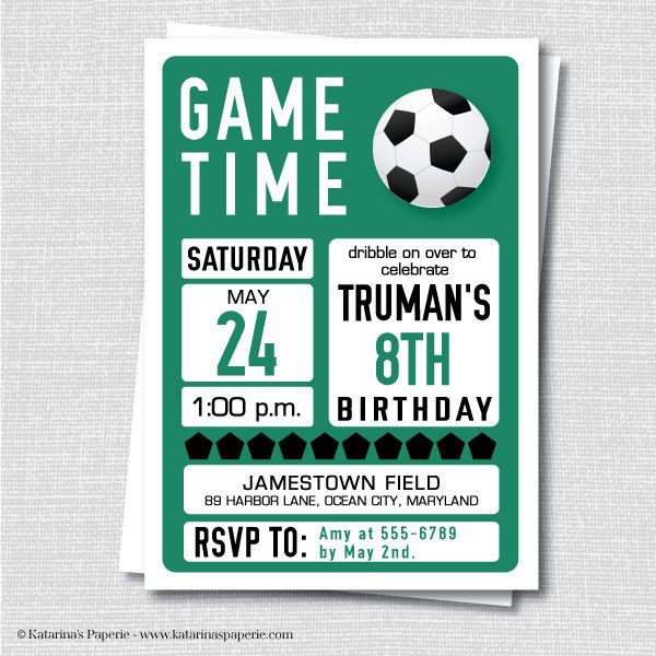 81 best soccer images on pinterest soccer party anniversary ideas custom soccer birthday invitation soccer por katarinaspaperie filmwisefo Image collections