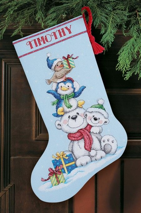 stack of critters cross stitch christmas stocking kit - Cross Stitch Christmas Stocking Kits