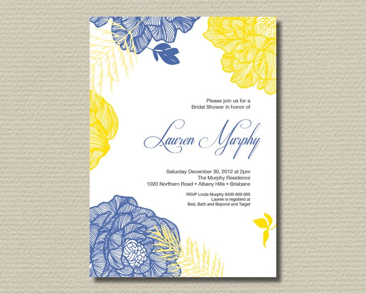 Printable Bridal Shower Invitation - Royal Blue and Yellow retro flowers on clean background. $15.00, via Etsy.