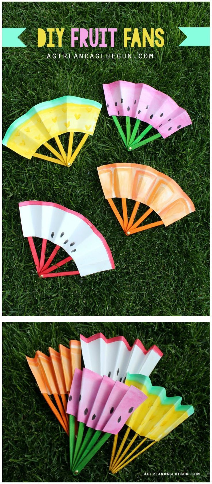 DIY Fruit Fans—perfect for cooling down on a hot day!