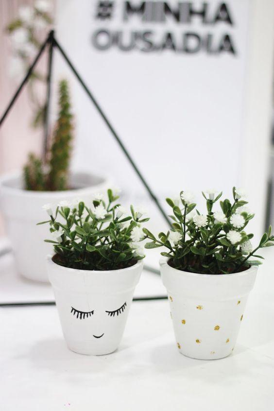 Vaso decorado com plantas tutorial