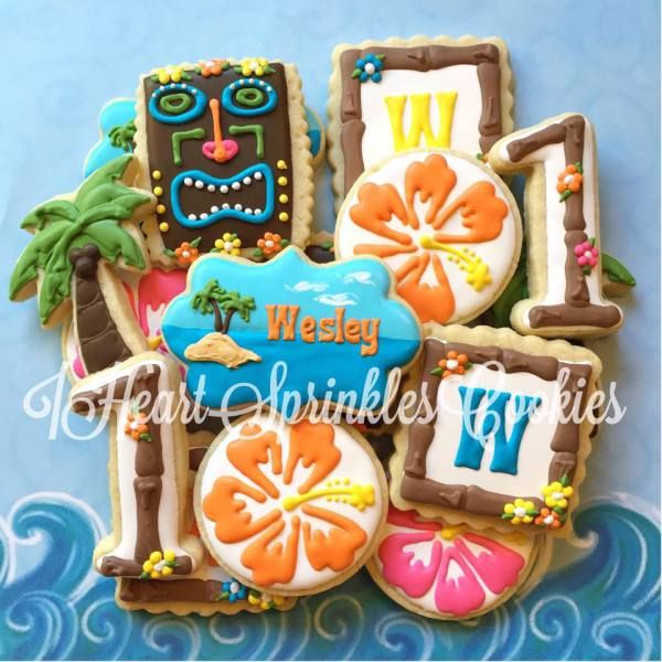Hawaii cookies, Hawaiian cookies, tiki cookies, birthday cookies