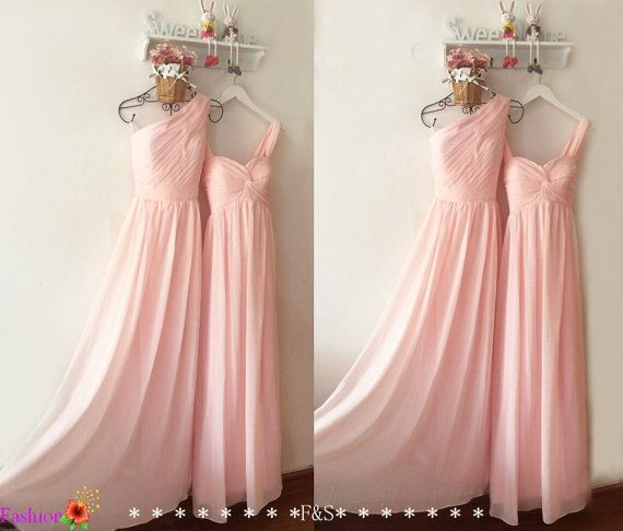 Light Pink Bridesmaid DressLong Chiffon Prom by FashionStreets
