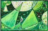Egill Jacobsen - Green mask composition, 1985, Oil... on MutualArt.com