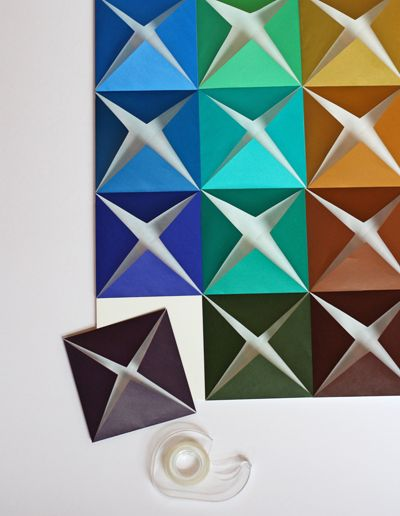 Make easy DIY wall art from folded paper | How About Orange orgami easy style wall art.