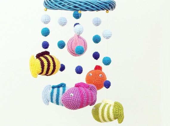 Crochet baby mobile with fish and lake  colorful by spikycake, $80.00