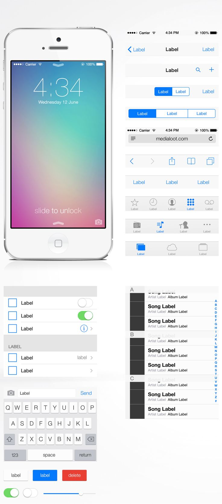 #Free #iOS 7 #UI Kit,  #Apple, #Buttons, #Graphic #Design, #Icon, #iOS7, #Mobile, #PSD, #Resource, #Slider, #Switch, #Toggle, #Vector