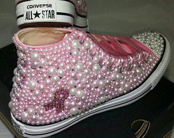 Mama cáncer personalizados cinta Converse rosa Bling & perlas personalizado zapatillas Converse - personalizado Chuck Taylor-All Star Converse zapatillas-