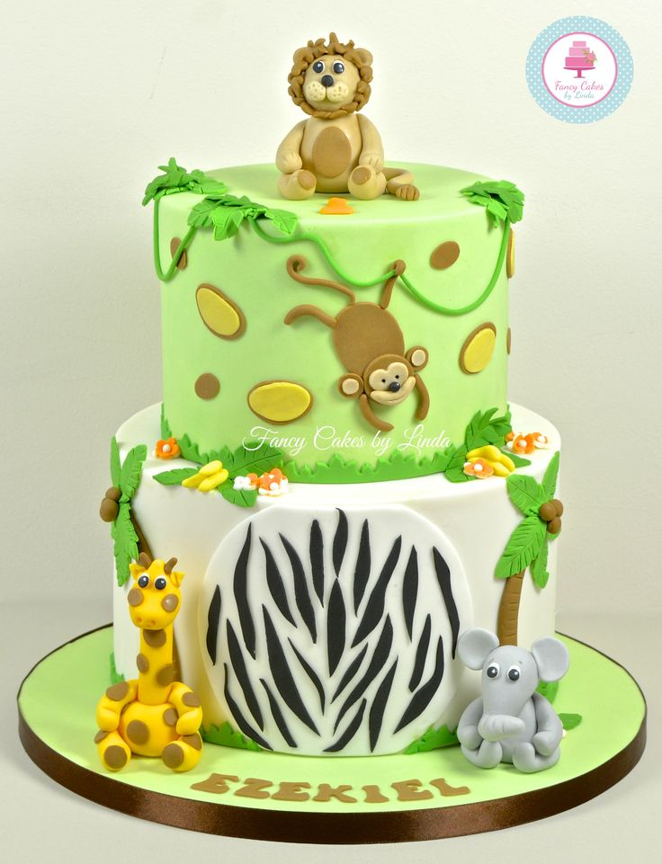 Jungle Themed Birthday Cake www.fancycakesbylinda.co.uk www.facebook.com/fancycakeslinda