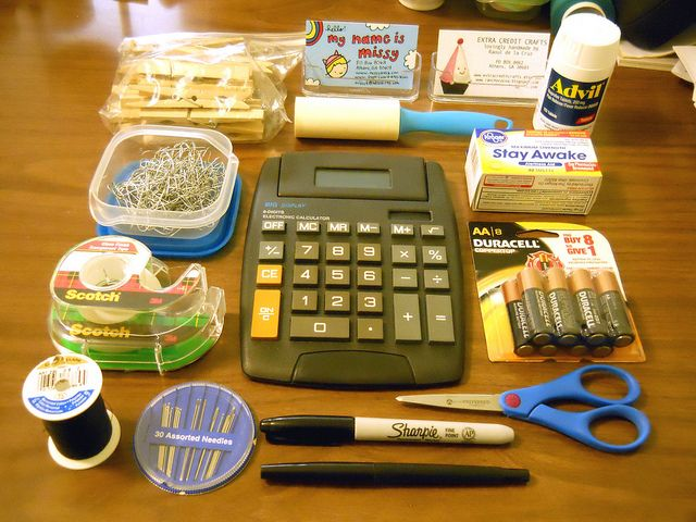 craft show survival kit:  - a CALCULATOR   - various MARKERS and PENS   - SCISSORS  - NEEDLES and THREAD  - TAPE   - ORNAMENT HOOKS   - CLOTHESPINS   - LINT ROLLER   - BUSINESS CARDS (  - ADVIL (for achy feets and heads)  - CAFFEINE PILLS (one pill equals 2 cups of coffee)  - BATTERIES (for the camera and LED Christmas lights)