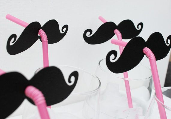 pink straws with mustaches. LOVE! #party