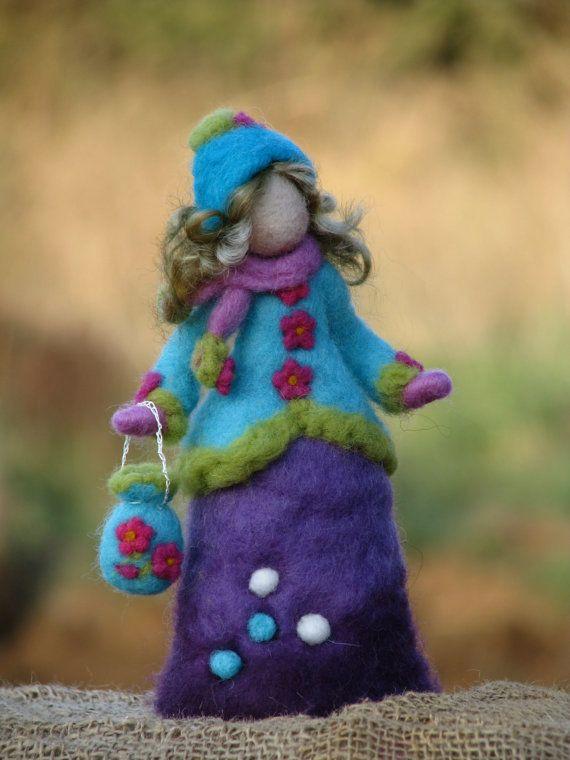 Aguja de fieltro muñeca waldorf inspirado - horario de invierno