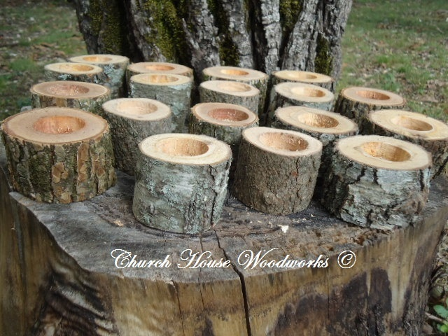 75 Rustic 2 Wood Candle Holders Sticks For Votive Candles Weddings Cabins Decoration