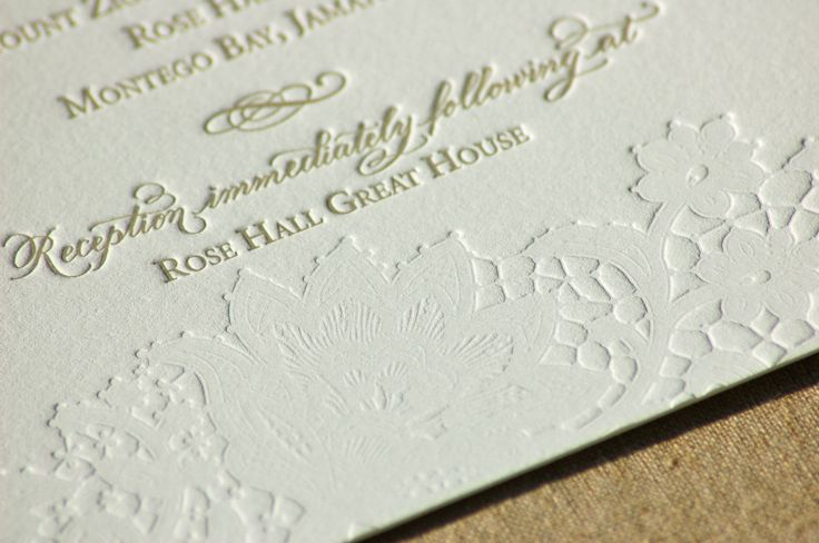 Letterpress Wedding Invitation featuring Hand Calligraphy and Lace Design  via Etsy. 1,099k for 175