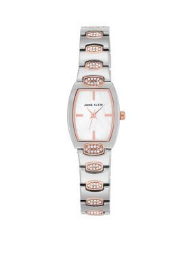 Anne Klein Silver Silver and Rose Gold-Tone Crystal Cush Tank Watch