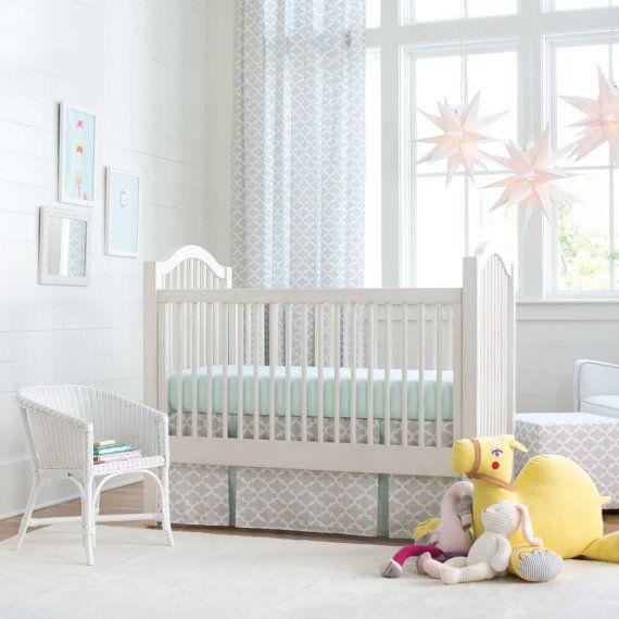 Neutral Baby Crib Bedding / Boy Baby Bedding / Girl Crib Bedding: French Gray & Mint Quatrefoil 2-Piece Crib Bedding Set by Carousel Designs