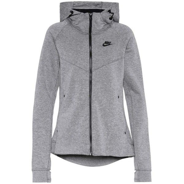 Nike Tech Fleece Cotton-Blend Hoodie ($110) ❤ liked on Polyvore featuring tops, hoodies, grey, hooded sweatshirt, nike, gray hooded sweatshirt, grey hoodie and gray hoodie