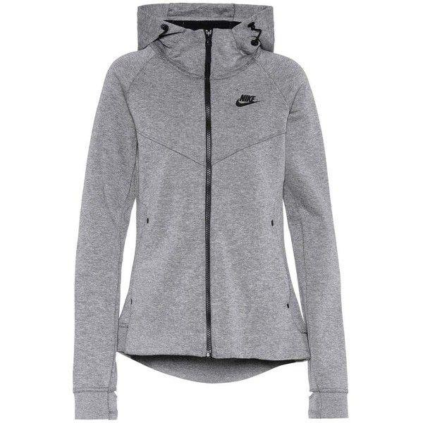 Nike Tech Fleece Cotton-Blend Hoodie ($110) ❤ liked on Polyvore featuring tops, hoodies, grey, hooded sweatshirt, nike, gray hooded sweatshirt, grey hoodie and gray hoodie