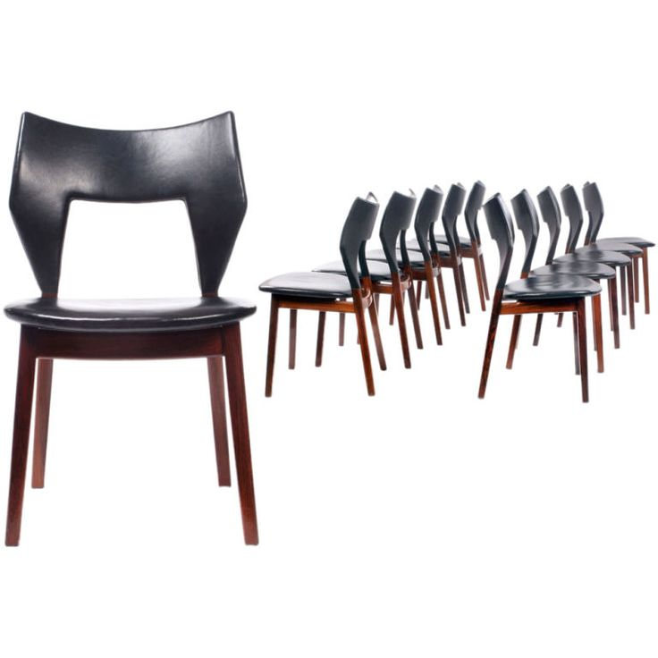 Edward and Tove Kindt-Larsen; Rosewood and Leather Dining Chairs for Thorald Madsen, 1960.