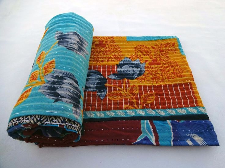 Vintage Kantha Quilt Indian Handmade Cotton Bedspread Traditional Blanket Throw From www.hutse.com wide range of kantha quilt and handmade items #kanthaquilt #kantha #quilt #sale #Online #online_handicrafts #kantha_quilt #vintage #homedecor #Traditional #ImBornTo
