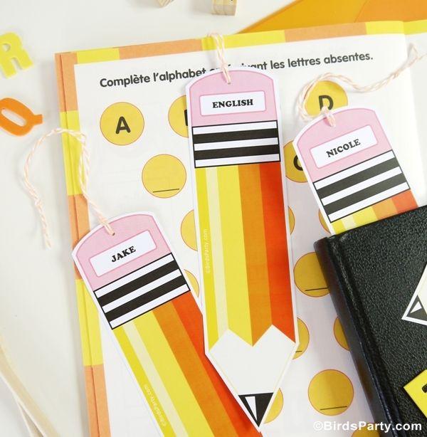 Back to School Pencil Bookmark Printables