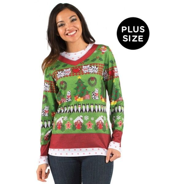 Plus Size Ugly Christmas Sweater With Cats For Women (470 ZAR) ❤ liked on Polyvore featuring tops, sweaters, halloween costumes, plus size christmas sweaters, cat sweater, womens plus size sweaters, christmas sweater and men shirts