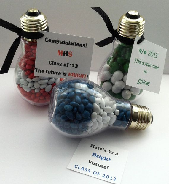 Light bulb graduation party favor bright future kindergarten senior class of 2013 2014 edible school colors grad on Etsy, $36.00