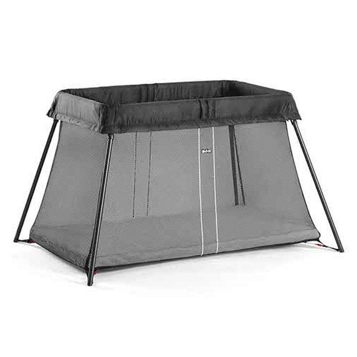 BabyBjorn Travel Crib Light & Fitted Crib Sheet Set, Black