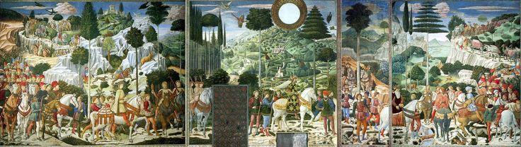 Шествие волхвов 1459-1461. Фреска на восточной стене часовни, Палаццо Медичи-Риккарди, Флоренция, Италия - Беноццо Гоццоли
