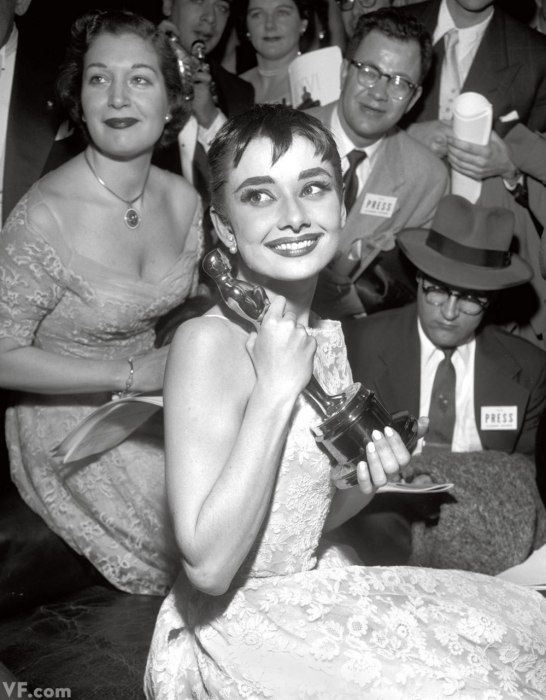 Audrey Hepburn still in stage makeup after a Broadway performance, 1954..... I thought you were not supposed to leave the theatre still in stage makeup... it's a no no my theatrical makeup professor once said