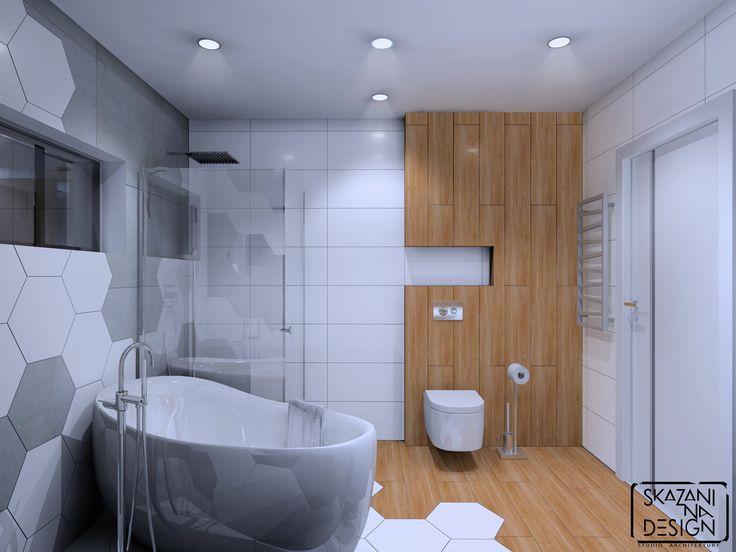 Łazienka w domu jednorodzinnym w Gliwicach, płytki heksagonalne, wersja 1 z drewnem