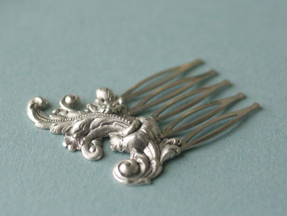 French rococo bridal hair comb antique silver elegant vintage style wedding hair