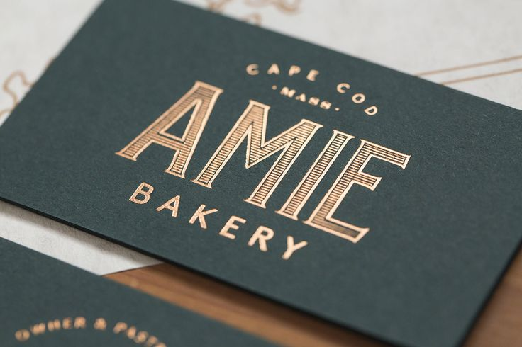 Amie Bakery on Behance - foil business card, copper and a dark rich green ... OBSESSED