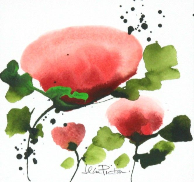 Jean Picton, Poppy Splash V, Original Watercolour | Contemporary Art