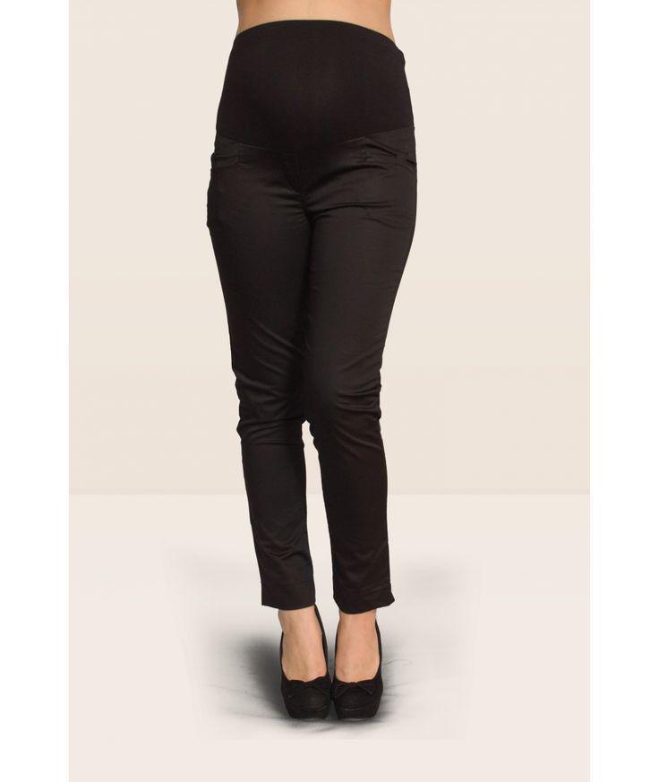 pantalone premaman modello capri senza tasche per donne in cinta con fascia alta regolabile con un sistema di asole interne, tessuto in raso di cotone