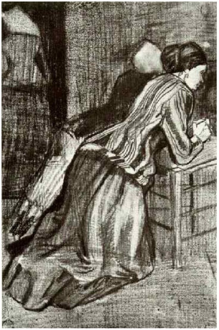 Vincent van Gogh Drawing, Pencil, black chalk The Hague: March, 1883 Kröller-Müller Museum Otterlo, The Netherlands, Europe F: 1058, JH: 348 Image Only - Van Gogh: Two Women, Kneeling