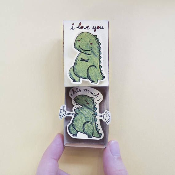 """Funny Love Card/ Love's Day Card/Love gift for her/ Love Matchbox Card/ Dinosaur card/ """"I Love You This Much""""/LV099"""