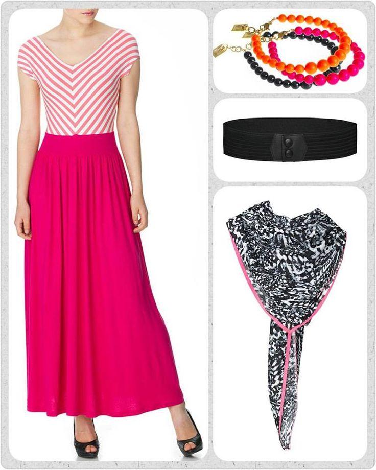 """Jaaaaa! Så kom foråret endelig 😉 Jeg vil fejre det med at hoppe i den smukke pink Dianna kjole, dresse den op med lidt """"arm candy"""", understrege min talje med et Waist elastik bælte og som den lille prik over i'et smyge et fedt tørklæde om halsen."""