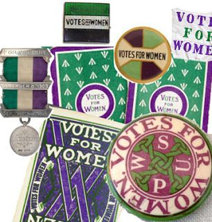 A selection of suffrage badges, medals and knick-knacks such as playing cards in the green, purple and white palette. There was a good deal of variety in all the shades from pinkish to dark blue violet. There is some recent discussion that the colors green, white and violet were chosen to echo the motto Give Women the Vote. That's a good way to recall the colors GWV---but the Suffragettes did not ask anyone to give them the vote. They demanded the vote.