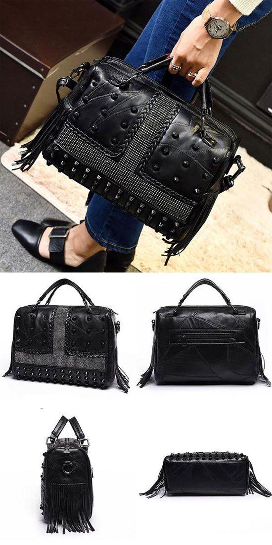 Black Large PU Tassels Rivets Braids Zipper Boston Bag Lady Handbag Punk Shoulder Bag for big sale! #handbag #shoulder #Punk #large #boston