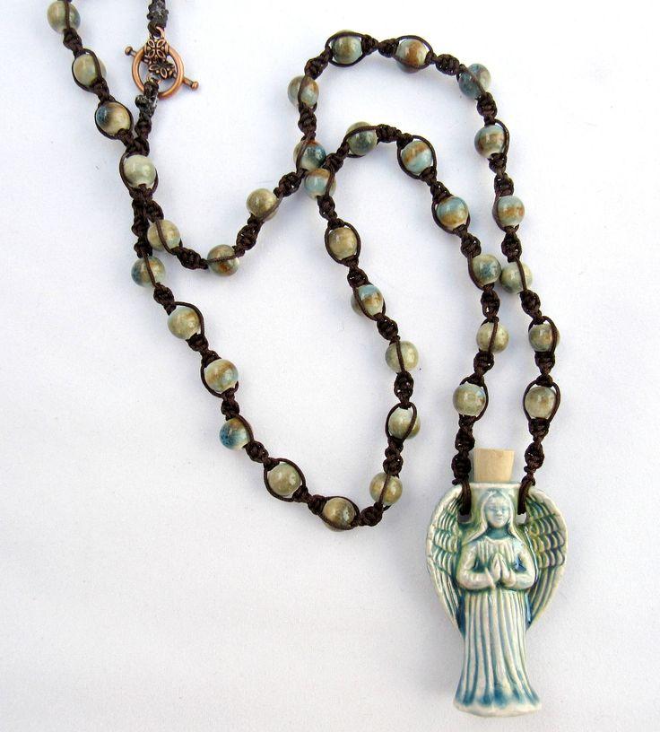 Angel Potion Bottle with Ceramic Beads    Vessel for Oils, Ashes, Perfumes   Angel Pendant   Raku Bottle by VibrantSoulWellness on Etsy