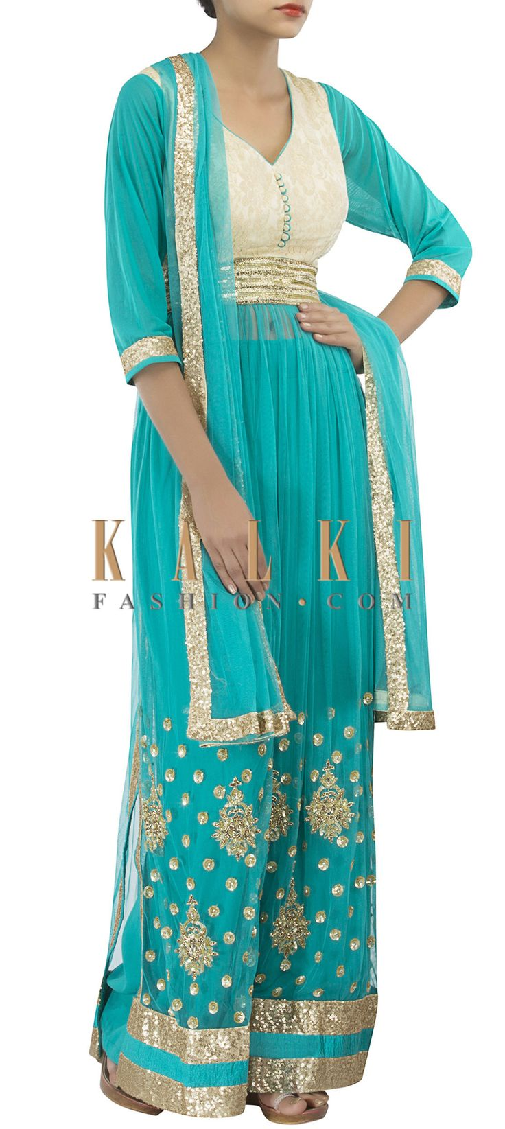Buy Online from the link below. We ship worldwide (Free Shipping over US$100) http://www.kalkifashion.com/sea-blue-anarkali-suit-featuring-in-sequin-and-kundan-embroidery-only-on-kalki.html